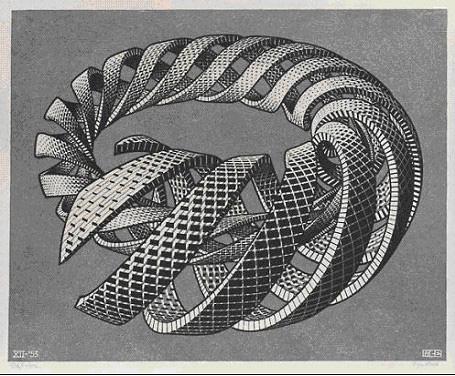 "M.C.Escher, ""Espirales"". Xilografía, 1953."