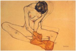 Egon Schiele- Mujer con pañuelo amarillo