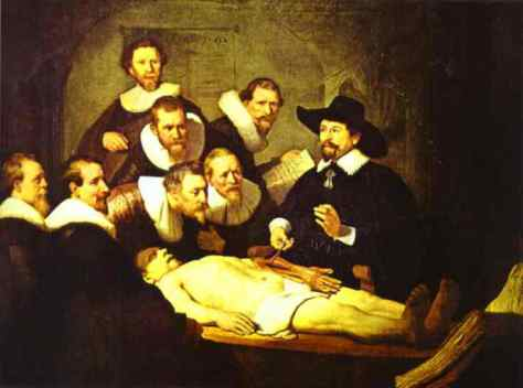 Rembrandt , La lección de anatomía del doctor Nicolaes Tulp, Óleo sobre lienzo, 1632.