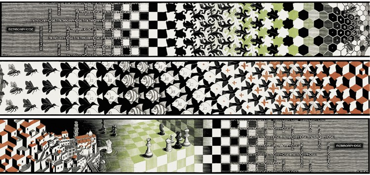 M.C.Escher – Collage de fragmentos de Metamorphosis, 1940 - 1967