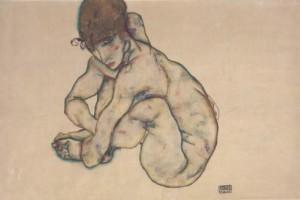 Egon Schiele - Sitting Feminine Act