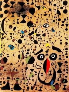 Joan Miró. El bello pájaro descifrando lo desconocido a una pareja de enamorados.